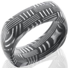 Men's Square Acid Finish Damascus Steel Basket Weave Ring