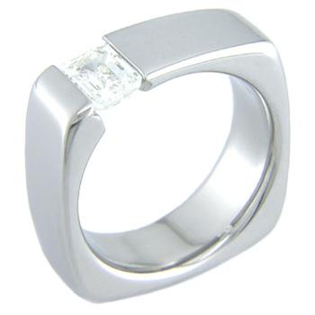 Women's Titanium Squared Tension Set Ring