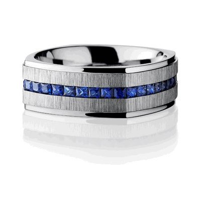 Men's Cobalt Chrome Sapphire Eternity Band