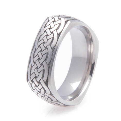 Square Titanium Celtic Ring