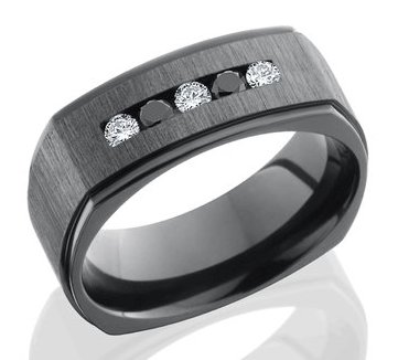 Men's Square Black Diamond Ring with Mixed Stones