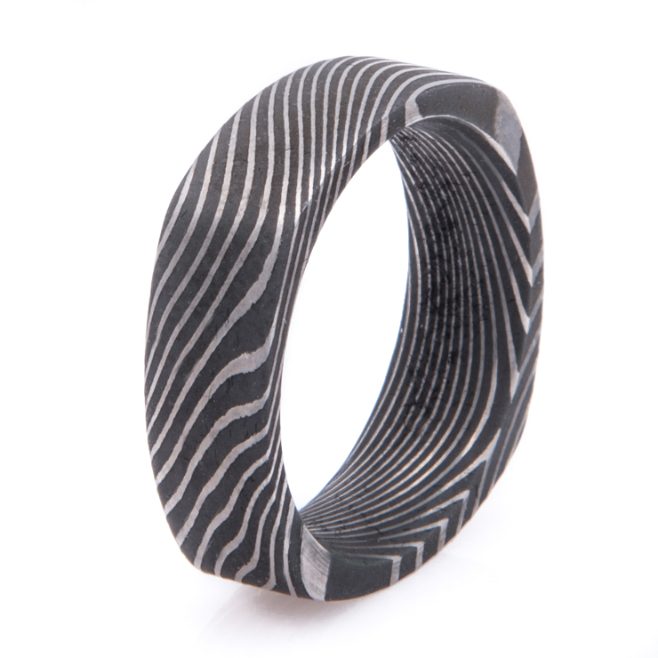 Men's Square Acid Finish Damascus Steel Ring with Twist Pattern