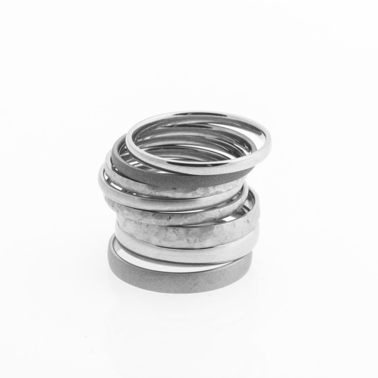 Stacked Titanium Rings, Set of Five