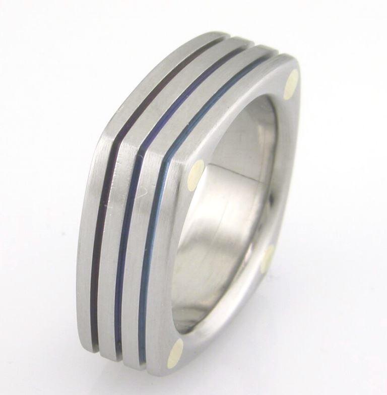 Stacked Squares Titanium Ring
