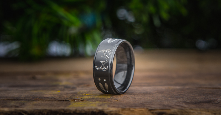 Men's Black Zirconium Step Down Two Tone Buck Ring