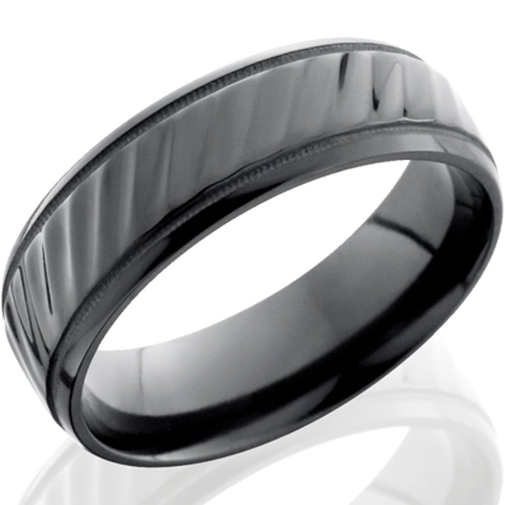 Milled Edge Striped Black Zirconium Ring