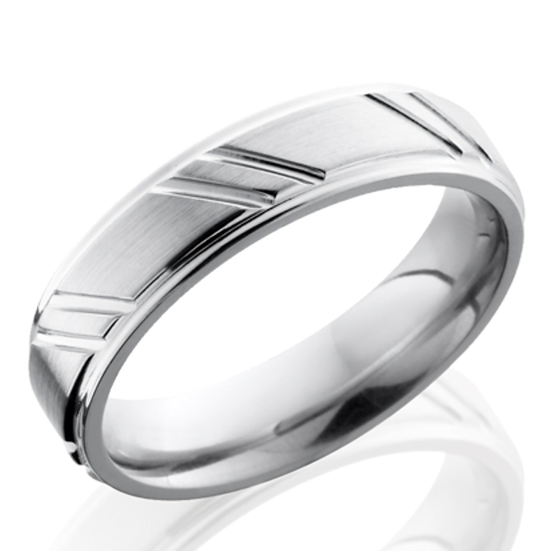Men's Cobalt Ring with Short Diagonal Striped Grooves