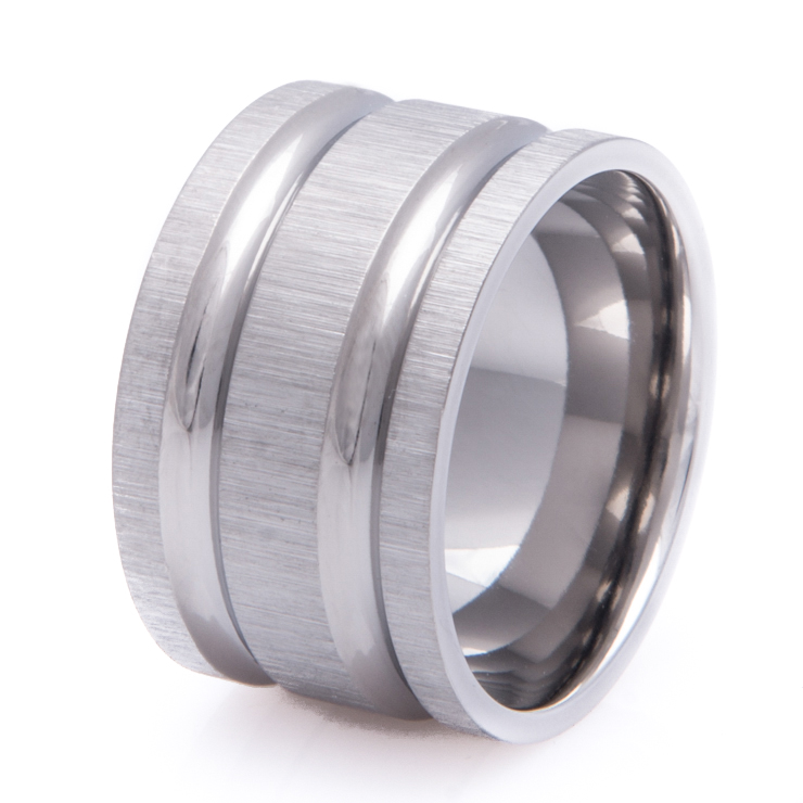 Super Wide Titanium Ring with Cross Satin Finish