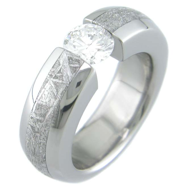 Women's Titanium Tension Set Stone Gibeon Meteorite Ring