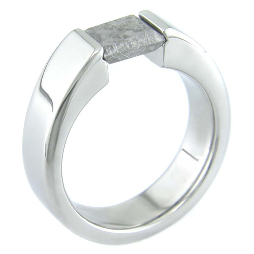 Women's Titanium Gibeon Meteorite Tension Set Ring