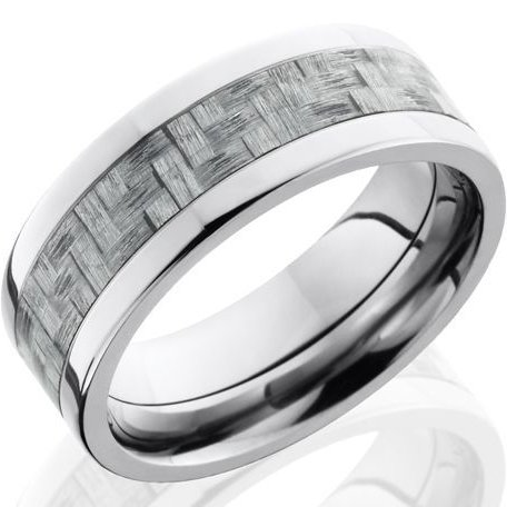 Men's Titanium Wedding Ring with Texalium Carbon Fiber Inlay