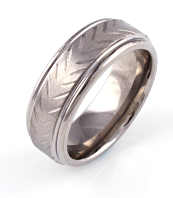 Men's Textured Titanium Rustic Style Ring