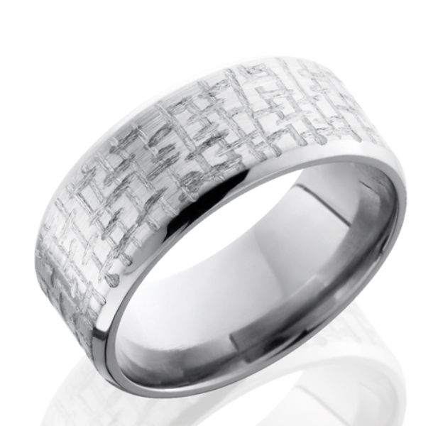 Beveled Textured Titanium Ring