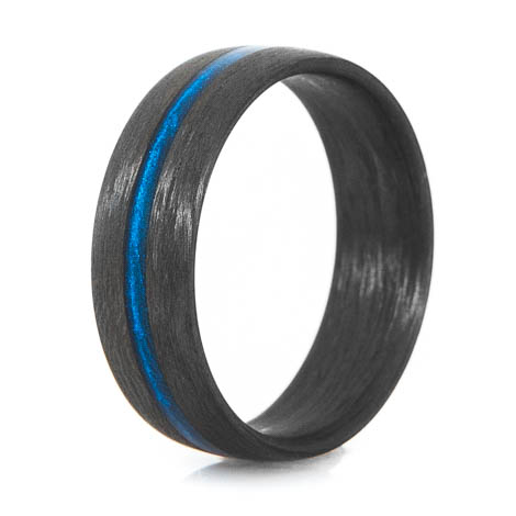 Men's Matte Finish Carbon Fiber Thin Blue Line Ring