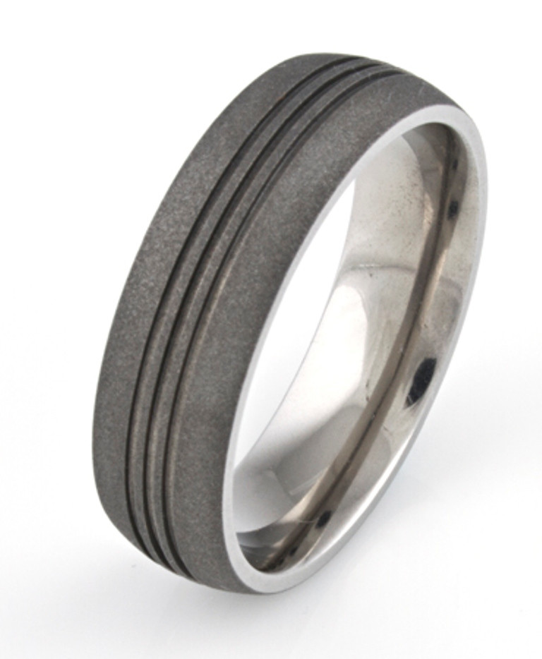 Men's Titanium Sandblasted Ring with Three Center Grooves