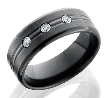 Men's Black Zirconium Ring with Bezel Set Diamonds
