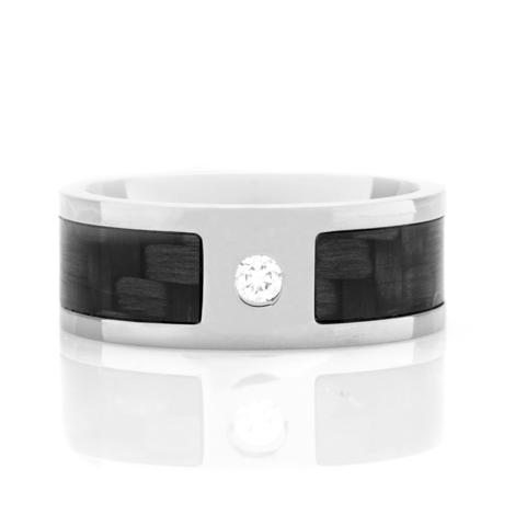 Men's Titanium and Carbon Fiber Flush-Set Diamond Ring