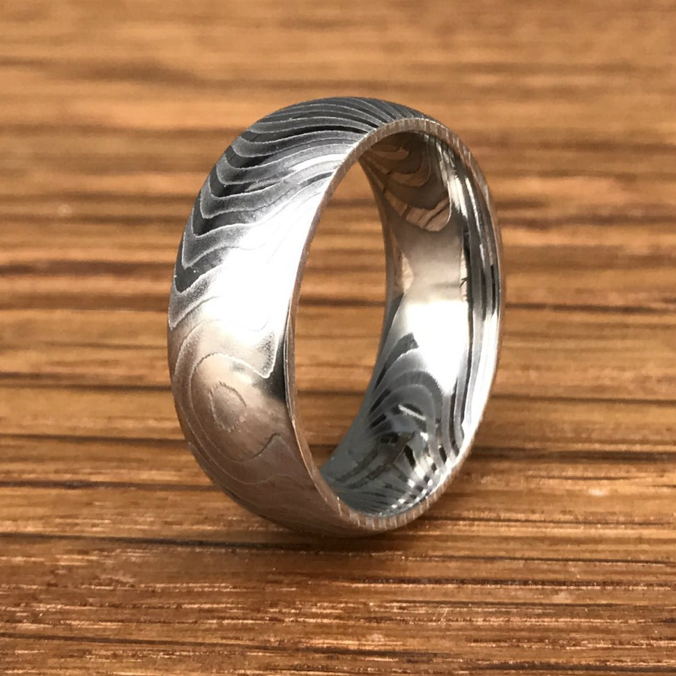 6cc48e99a2156 Men's Tiger Stripe Damascus Steel Wedding Ring