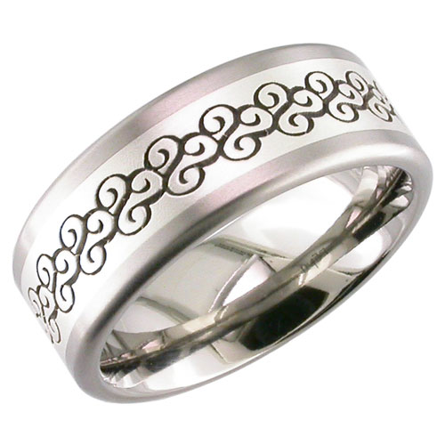 Men's Laser-Engraved Titanium and Silver Ring