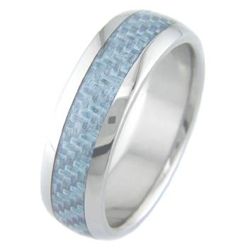 Men's Titanium and Light Blue Carbon Fiber Ring