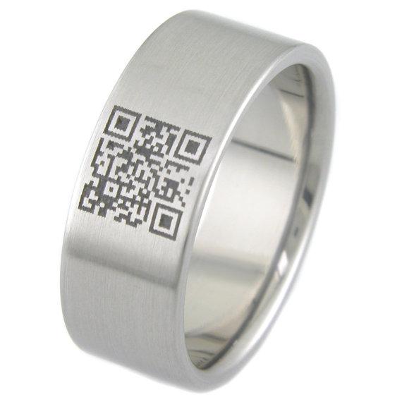 Men's Titanium QR Code Ring