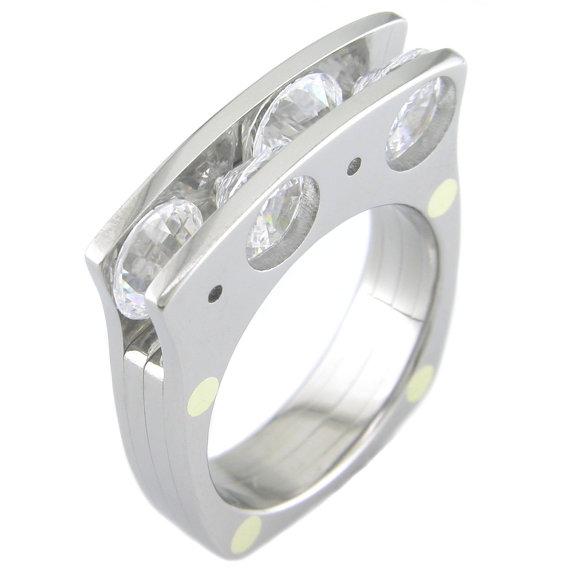 Men's Titanium Quad Stone Ring