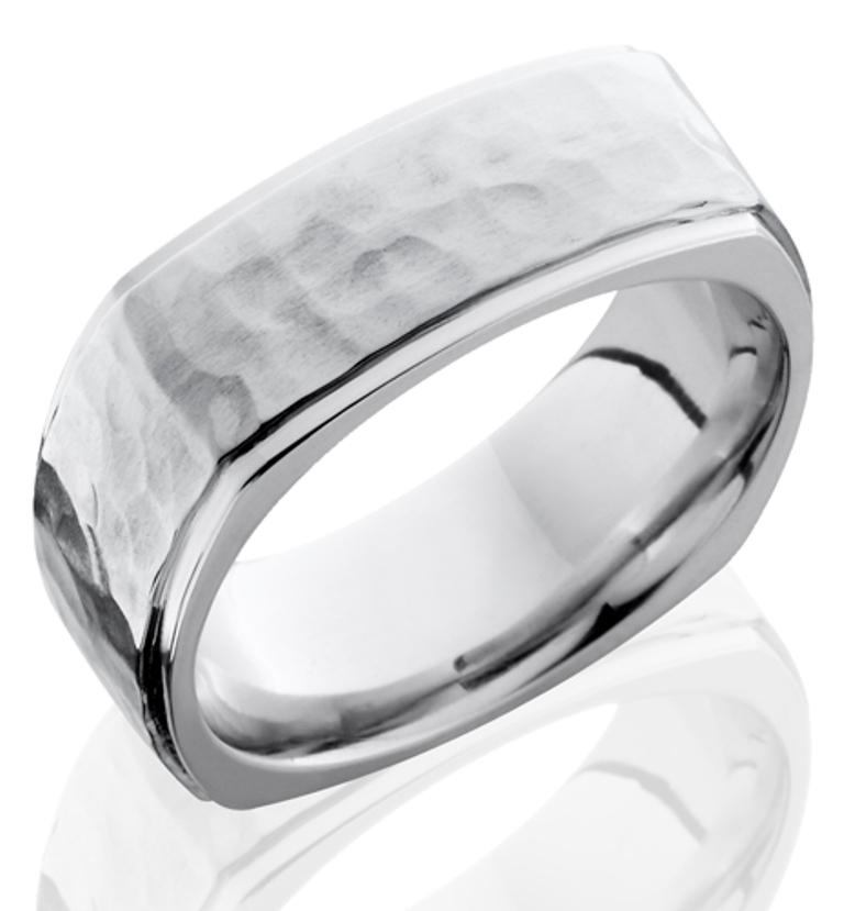 Men's Square Hammered Cobalt Ring