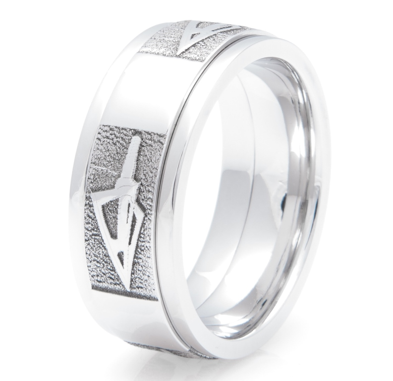 Men's Cobalt Chrome Broadhead Arrow Ring