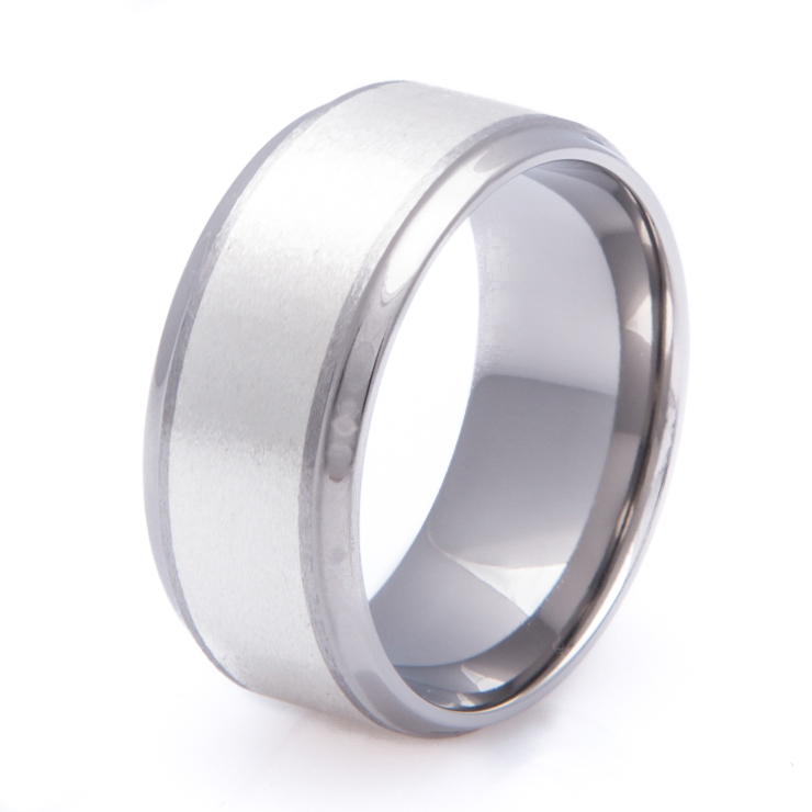 Titanium Ring with Wide Sterling Silver Inlay