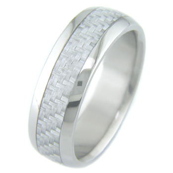 Men's Titanium and Silver Carbon Fiber Ring