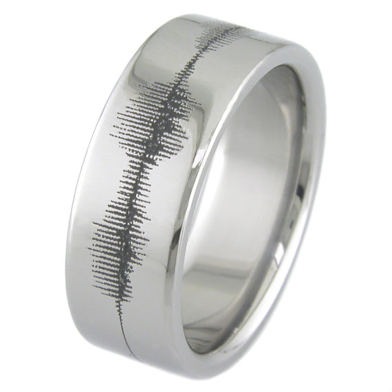 Men's Laser-Engraved Titanium Sound Wave Ring