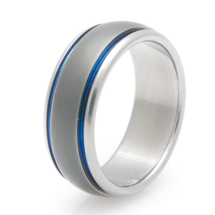 Sable Finish Blue Titanium Wedding Band