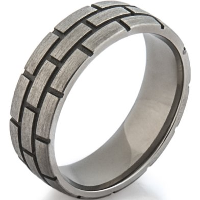 Titanium Brick Pattern Ring
