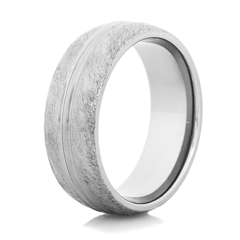 Men's Divided Gunmetal Titanium Western Wedding Ring- 8mm