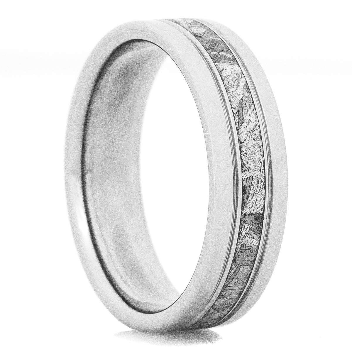 Men's Accented Titanium Gibeon Meteorite Ring