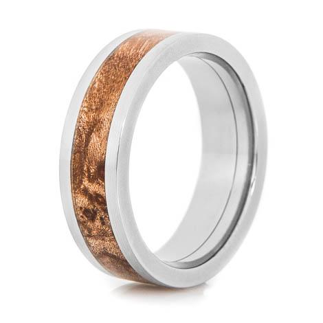 Men's Flat Profile Polished Titanium and Maple Ring
