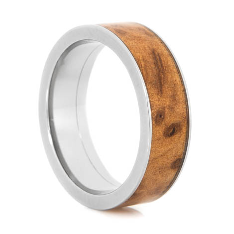 Men's Polished Titanium Flat Profile Thuya Burl Wood Inlay Ring