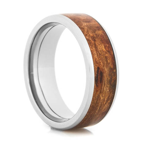 Men's Beveled Edge Polished Titanium and Maple Inlay Wedding Band