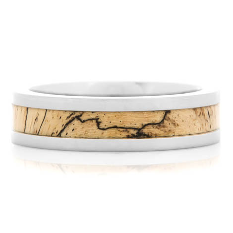 Men's Flat Profile Polished Titanium and Spalted Tamarind Ring