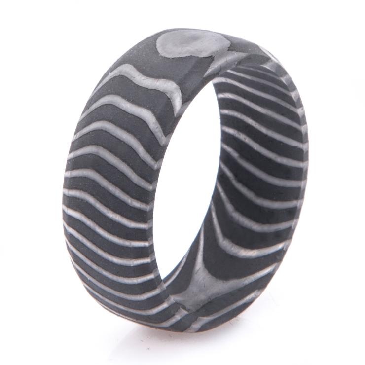 Men's Beveled Edge Acid Finish Tiger Stripes Damascus Steel Ring