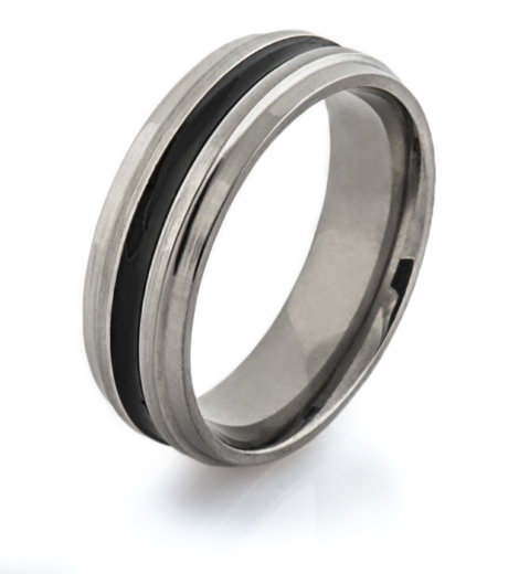 Wide Black Inlay Titanium Wedding Band