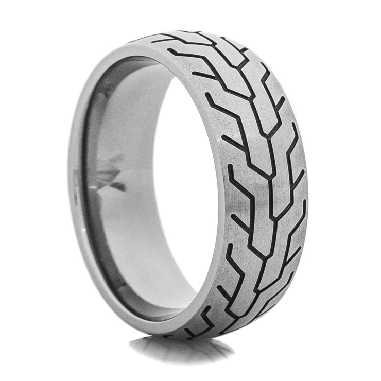 Men's Titanium Tire Track Ring