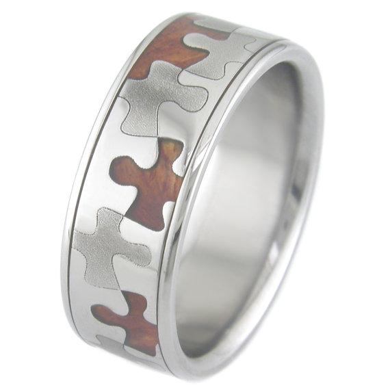 Men's Dome Profile Polished Titanium and Hardwood Puzzle Ring