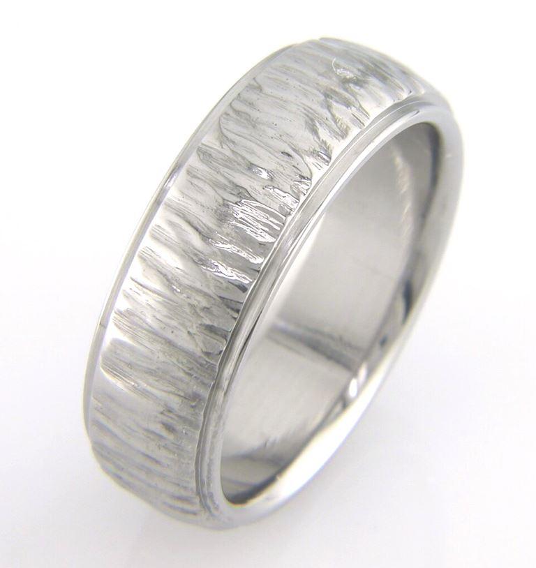Men's Dome Tree Bark Titanium Ring