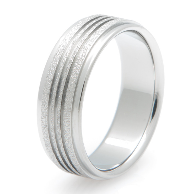 Men's Triple Channel Titanium Frost Ring