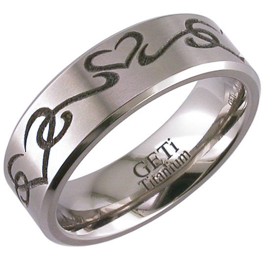 Men's The Tribal Engraved Heart Ring
