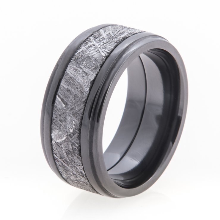 Men's Double Step Down Edge Black Zirconium Gibeon Meteorite Ring