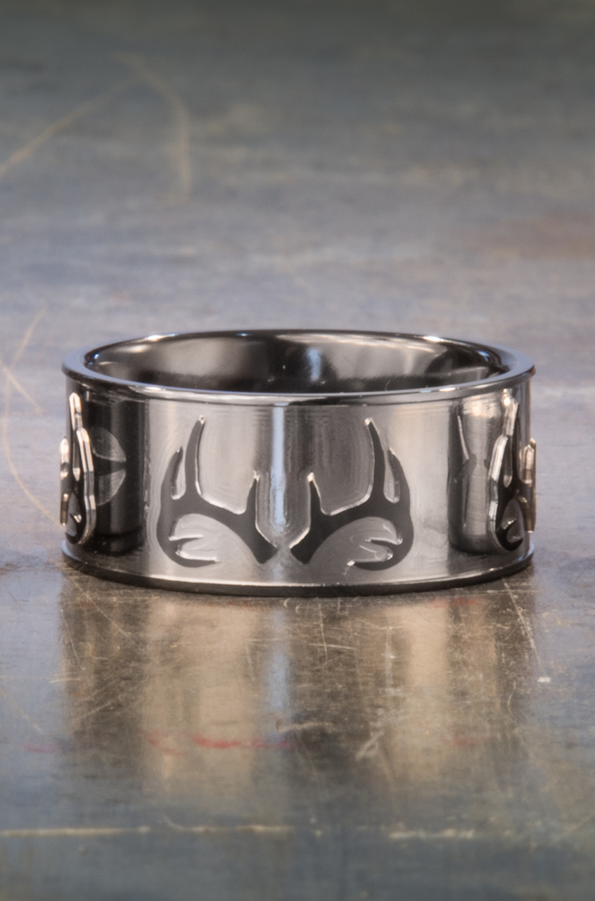Men's Black Zirconium Two Tone Antler Ring