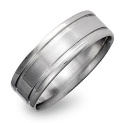 Men's Titanium Ring with Dual Inlay
