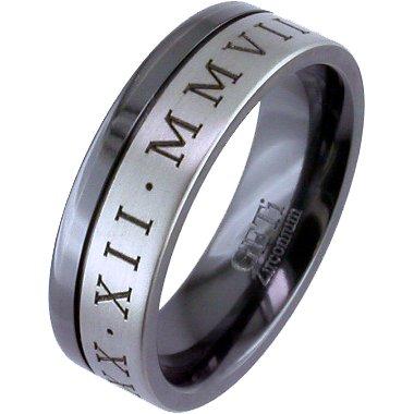 Two-Tone Zirconium Numeral Ring